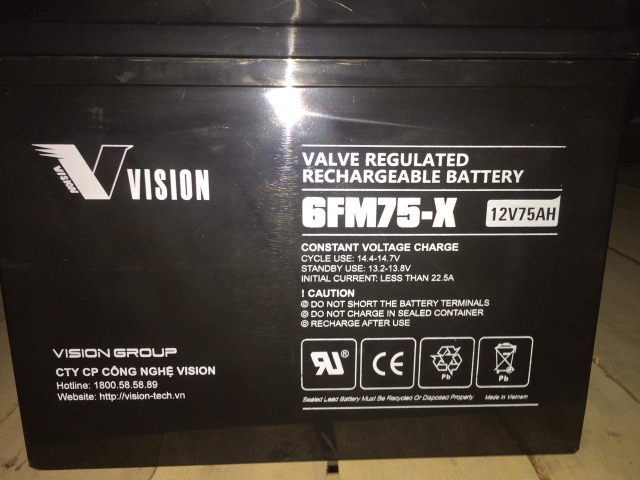 Ắc quy vision 6FM75-X  (12V-75Ah)