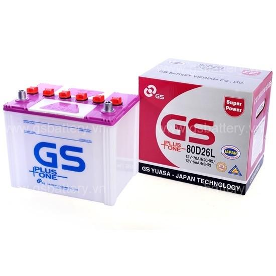 Bình ắc quy khởi động (châm nước) GS 80D26L (12V-70Ah)