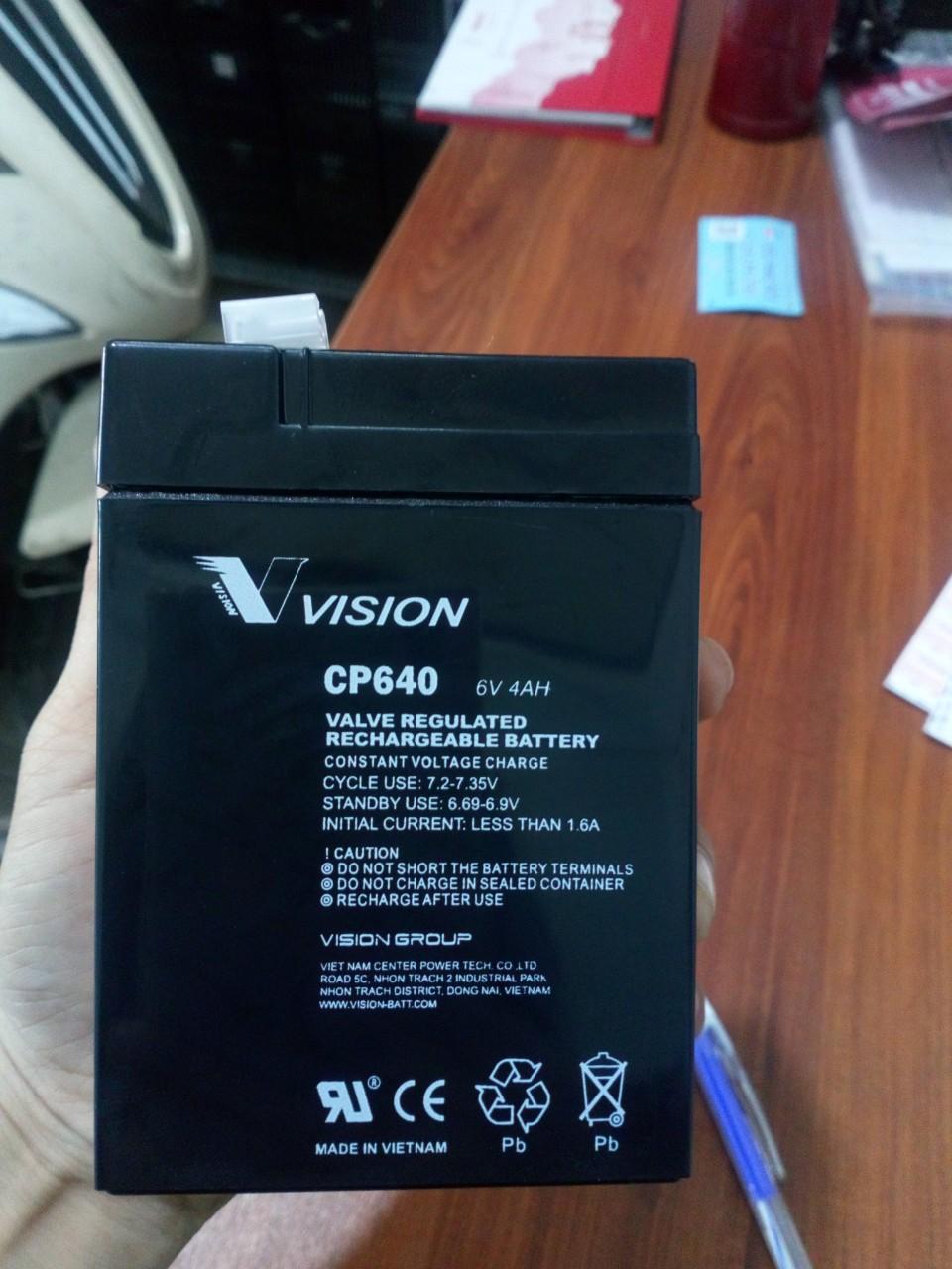 Bình ắc quy Vision 6V-4Ah (CP640)